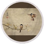 Chickadee Encounter II Round Beach Towel