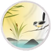 Round Beach Towel featuring the digital art Chickadee In Spring by John Wills