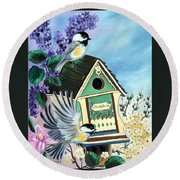Chickadee Lane Round Beach Towel