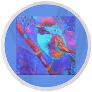 Round Beach Towel featuring the painting Chickadee by Nancy Jolley