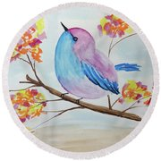 Chickadee On A Branch With Head Up Round Beach Towel