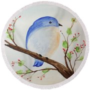 Chickadee On A Branch With Leaves Round Beach Towel