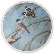 Chickadee Party Round Beach Towel