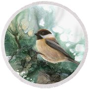 Round Beach Towel featuring the painting Chickadee by Sherry Shipley