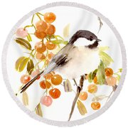Chickadee Round Beach Towel by Suren Nersisyan