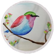 Chickadee With Green Head On A Branch Round Beach Towel