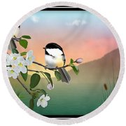 Chickadees And Apple Blossoms Round Beach Towel
