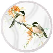 Chickadees And Orange Flowers Round Beach Towel by Suren Nersisyan