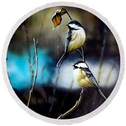 Chickadees Round Beach Towel