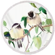 Chickadees Round Beach Towel by Suren Nersisyan