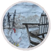 Round Beach Towel featuring the painting Chicken By Chair by Jack G Brauer