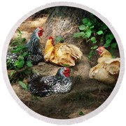 Chicken Dust Bath Party Round Beach Towel
