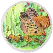 Round Beach Towel featuring the painting Chicken Family by Cathie Richardson