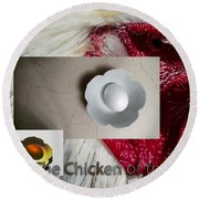 Chicken Or Egg Poster Round Beach Towel