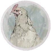 Chicken Portrait-farm Animals Round Beach Towel
