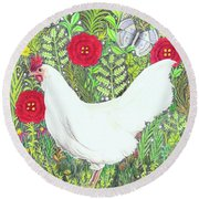Chicken With Millefleurs And Butterflies  Round Beach Towel