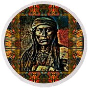 Chief Cochise Montage Round Beach Towel