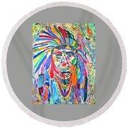 Chief Joseph Of The Nez Perce Round Beach Towel