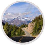 Round Beach Towel featuring the photograph Chief Joseph Scenic Highway by John Gilbert