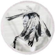 Chief Round Beach Towel by Mayhem Mediums