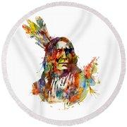 Chief Mojo Watercolor Round Beach Towel