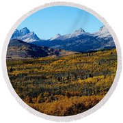 Chief Mountain In The Fall Round Beach Towel