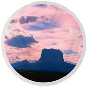 Chief Mountain, Pastel Round Beach Towel