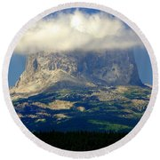 Chief Mountain, With Its Head In The Clouds Round Beach Towel