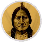 Round Beach Towel featuring the drawing Chief Sitting Bull  Tatanka Iyotake by Michelle Dallocchio