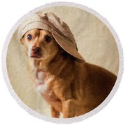 Chihuahua In A Newsboy Hat Round Beach Towel