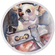 Chihuahua Round Beach Towel by Maria's Watercolor