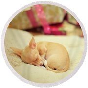 Chihuahua Puppy Christmas Dreams Round Beach Towel