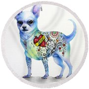 Round Beach Towel featuring the painting Chihuahua Topo by Patricia Lintner