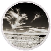 Chihuahuan Desert In Sepia Round Beach Towel by Allen Sheffield