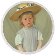 Round Beach Towel featuring the painting Child In A Straw Hat By Mary Cassatt 1886 by Movie Poster Prints