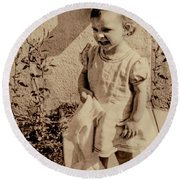 Round Beach Towel featuring the photograph Child Of 1940s by Linda Phelps