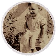 Round Beach Towel featuring the photograph Child Of  The 1940s by Linda Phelps