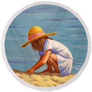 Child Playing In The Sand Round Beach Towel