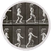 Child Running, Plate 469 From Animal Locomotion, 1887 Round Beach Towel