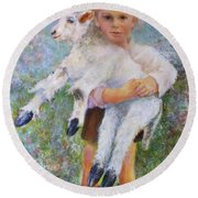 Child With A Lamb Round Beach Towel
