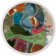 Round Beach Towel featuring the photograph Blue Monks by Kathie Chicoine