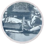 Round Beach Towel featuring the photograph Childhood Memories by Linda Phelps
