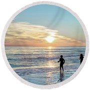Children At Play On A Florida Beach  Round Beach Towel