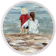 Children By The Sea  Round Beach Towel