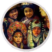 Children Of Asia Round Beach Towel