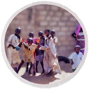 Round Beach Towel featuring the photograph Children Of Kayar  by Wayne King
