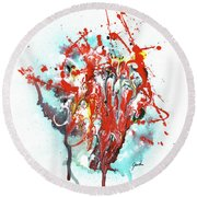 Children Of Light - Colorful Bright Read And Blue Abstract Art Painting Round Beach Towel