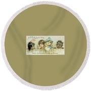 Children On A Fence Round Beach Towel by Reynold Jay