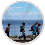 Children On Lake Walk Round Beach Towel