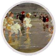 Children On The Beach Round Beach Towel by Edward Henry Potthast